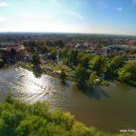 Ruderregatta in Celle 2015 - Luftaufnahme mit Boot