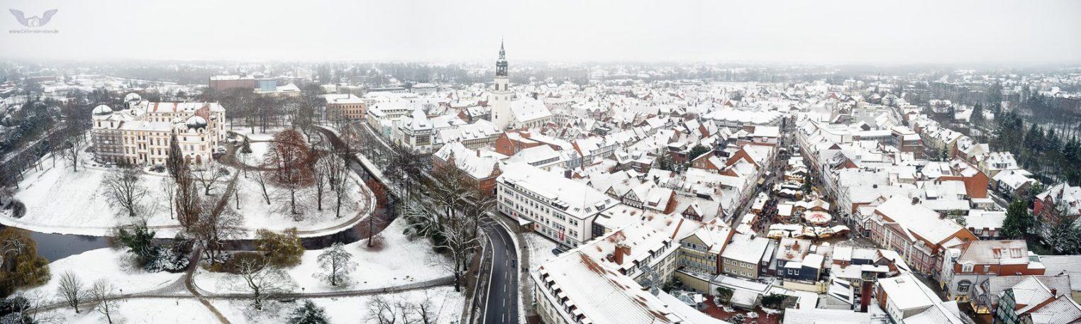 Schnee in Celle Panorama aus der Luft – celle-von-oben
