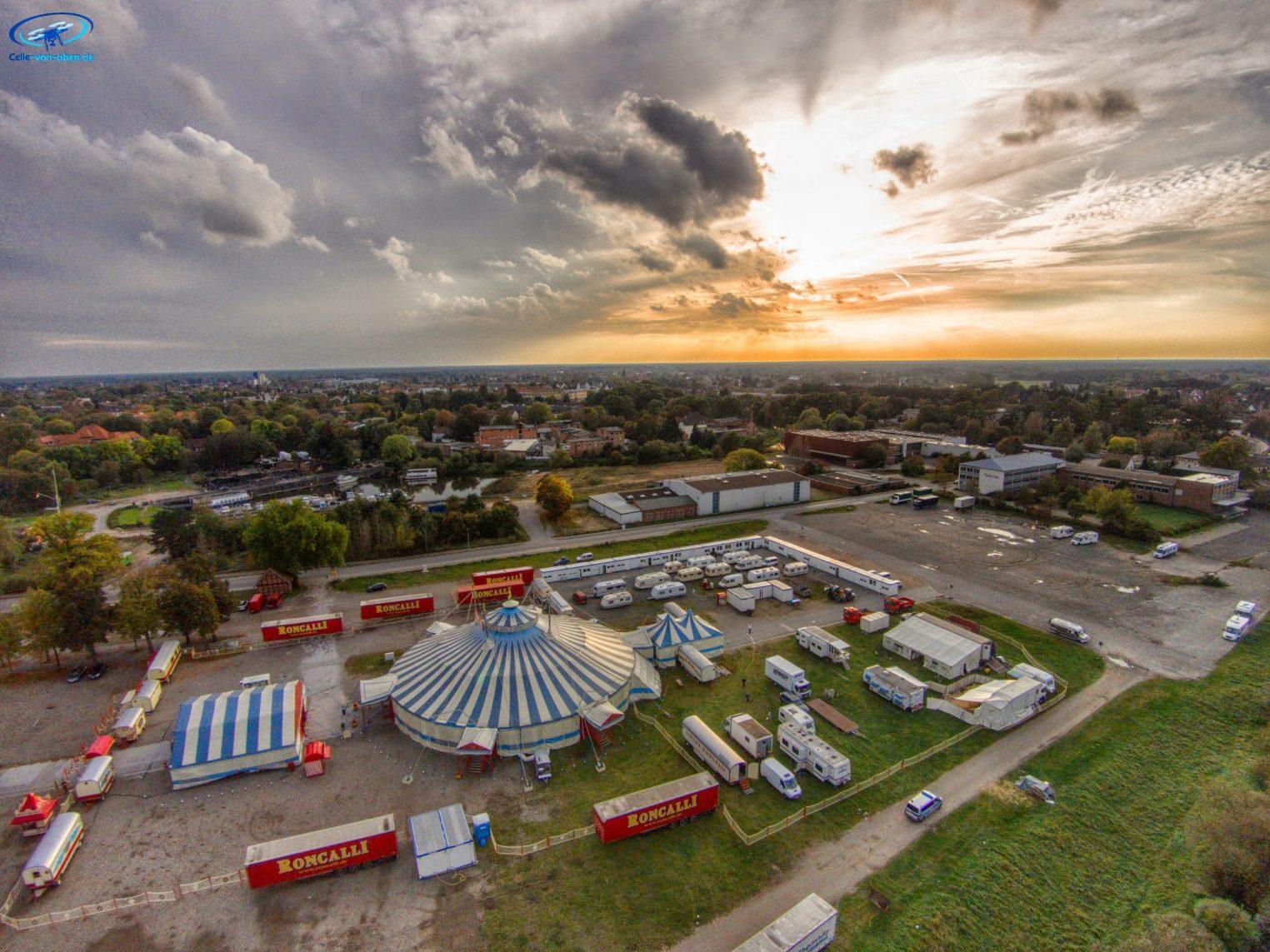 Zirkus Roncalli in Celle aus der Luft